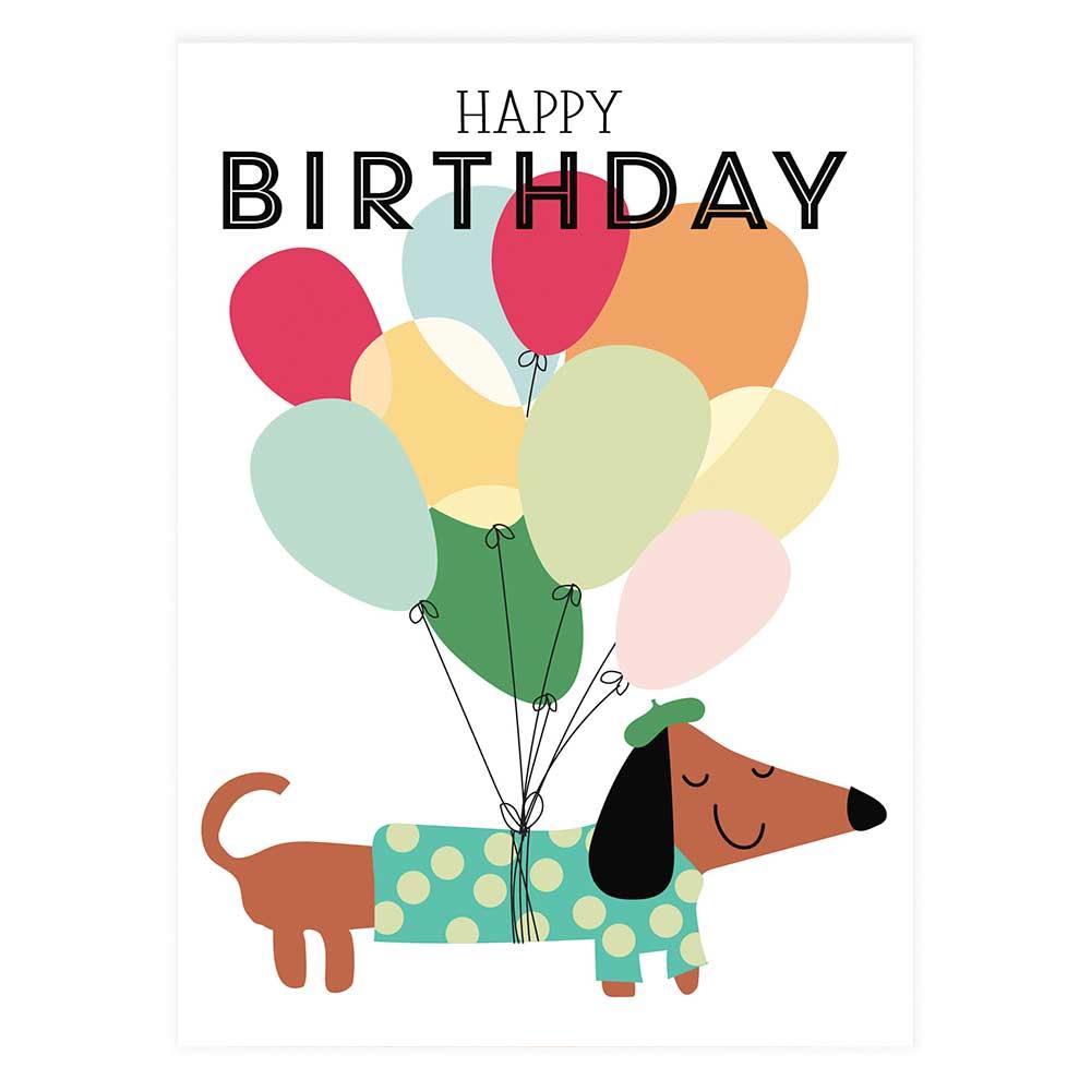 Happy Birthday Dachshund Balloons Potluck Press