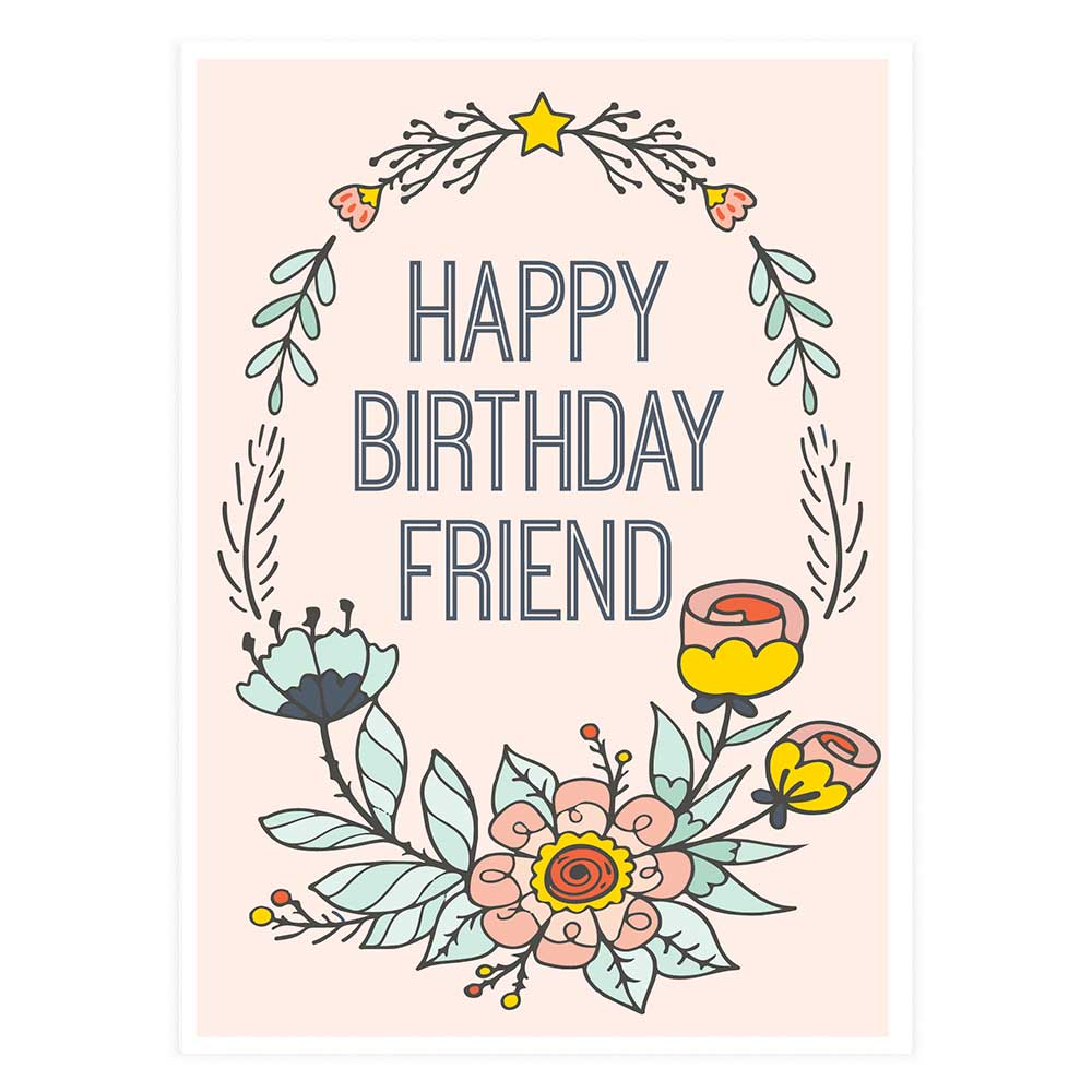 Happy birthday friend wreath potluck press happy birthday friend wreath inside greeting m4hsunfo